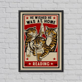 'He wished he was at home reading' screen print