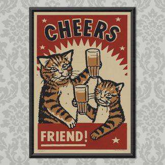 'Cheers' screen print