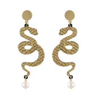 Snake and Pearl Earrings