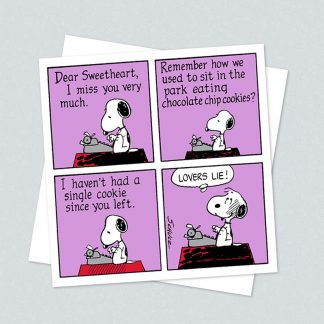 Snoopy square lovers lie card