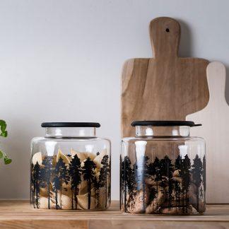 Forest Glass Storage Jar