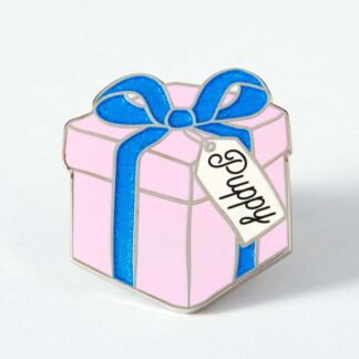 Puppy Gift Box Enamel Pin