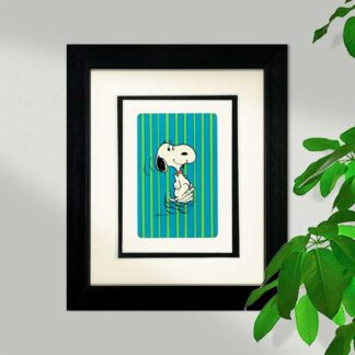 Snoopy Dancing Framed Card, Blue/Green